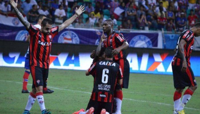 Jogadores do Vitória fizeram a festa como visitantes (foto: Divulgação/Vitória)