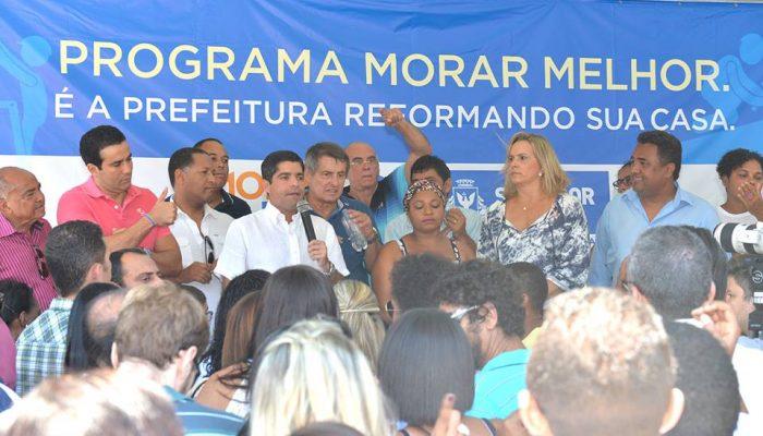ACM Neto dá ordem de serviço para reforma de casas no Bairro da Paz. Fotos: Max Haack