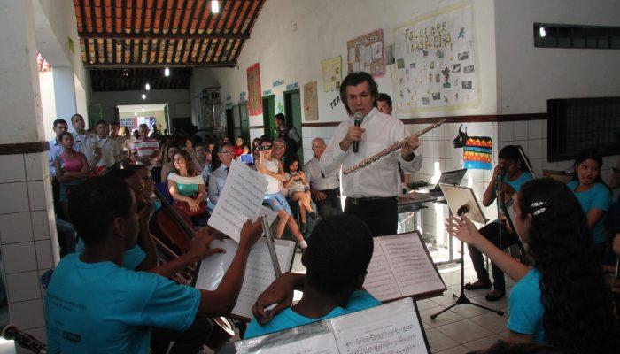 Um concerto realizado na Escola Ernestina Carneiro, na Rua Nova, marcou o início das atividades na região. Foto: Reginaldo Pereira/Divulgação