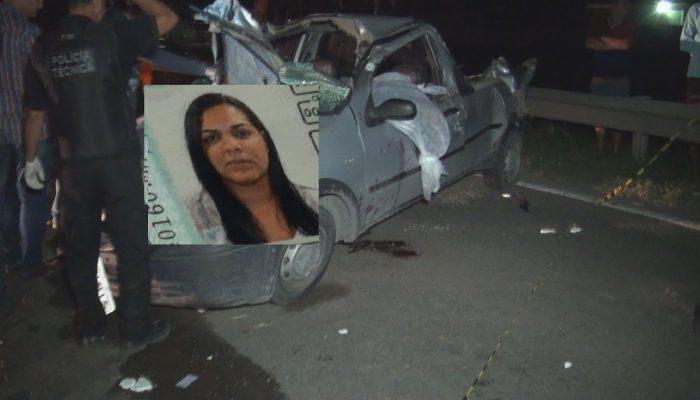 Carro conduzido por Paloma Santos Freitas capotou vária vezes. Foto: Reprodução/Blog Central de Polícia