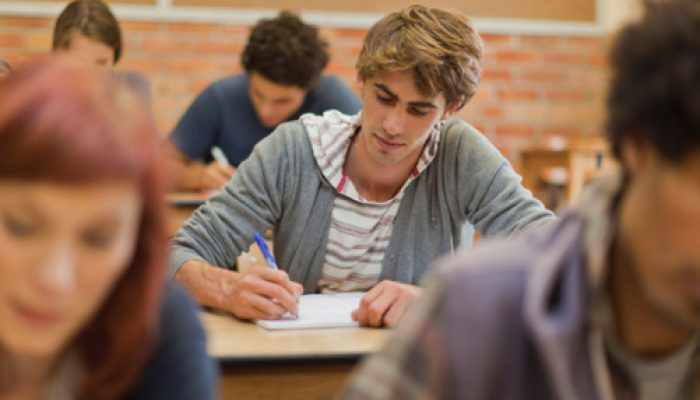 Students working in class